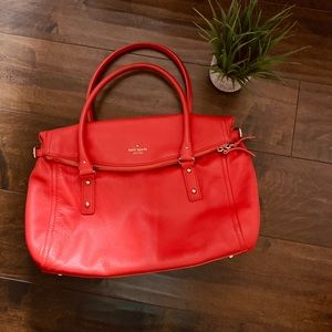 Kate Spade Pebbled Leather Fold Over Tote Purse